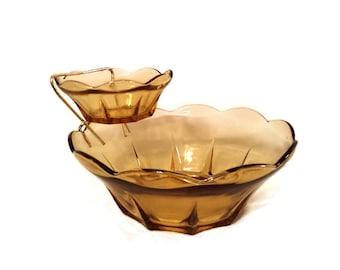 Anchor Hocking Swedish Modern Honey Gold Chip and Dip Set Mid Century Modern