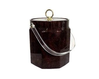 Retro Ice Bucket Brown Vinyl Octagonal Vintage Bar Supply Now On Sale