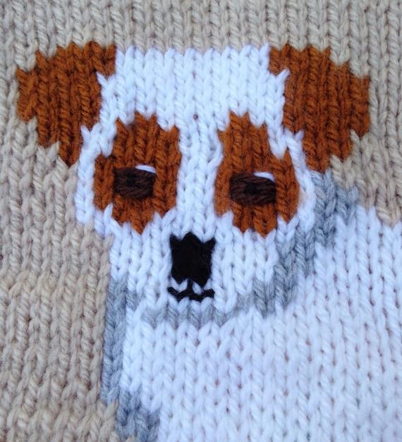 Jack Russell baby blanket/pram cover/comfort blanket, chunky knitting pattern...