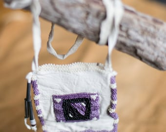 Hand beaded - White Leather - Medicine pouch