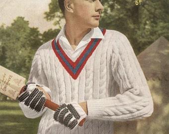 Knitting Pattern Cricket Jumper : Cricket jumper Etsy
