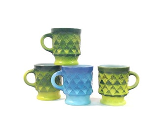 Vintage Fire King Kimberly Mugs / Green Blue / Set of 4 Mismatched / Anchor Hocking / Coffee Mugs / Textured Diamond / 1970s