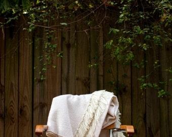 ON SALE White Wool Blanket