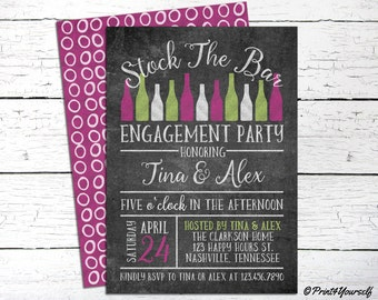 Engagement Invite // Personalized Printable Chalkboard Stock The Bar Engagement Shower Invitation // Stock The Bar Invitation