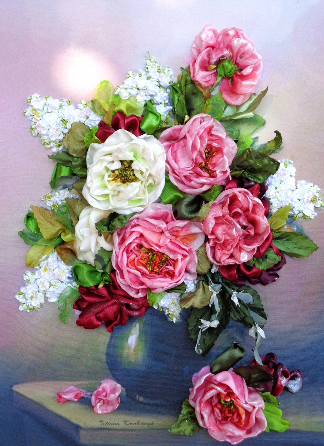 Picture Flowers Made Of Silk Ribbon Embroidery Y
