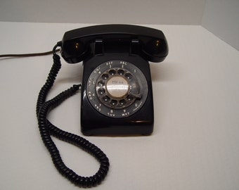 Vintage Black Western Electric Telephone, Rotary Dial, Office Phone, Home Phone
