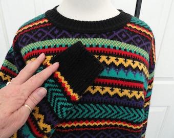 Ski Sweater . Med . Sakura . Multi Color . Honey Teal Purple .  Sweater . 8 . Rainbow Sweater