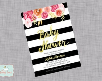 Floral Gold Foil Baby Shower Invitations