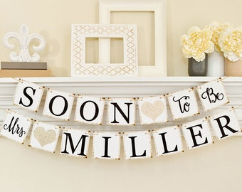 Bridal Shower Decorations, Bridal Shower Banner, Soon To Be Mrs Banner, Bachelorette Party, Champage Glitter Bridal Shower, B206