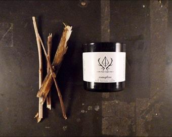 Campfire Candle 10 oz. Handmade Woodsmoke Beeswax Candle / Woodsmoke Candle from Aziz Light Apothecary