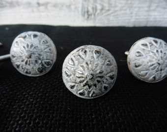 Distressed Small Off White Floral Metal Knob - Drawer Pull  - Romantic Country Shabby Chic