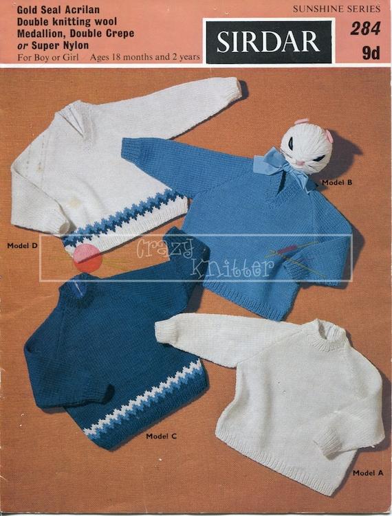 Baby Raglan Sweaters 18-24 months DK Sirdar 284 Vintage Knitting Pattern PDF instant download