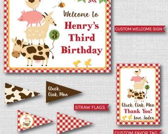 Boy Barnyard Birthday Party Package - Party Printables - Barnyard Party Decor - Farm Party - DIGITAL DESIGN