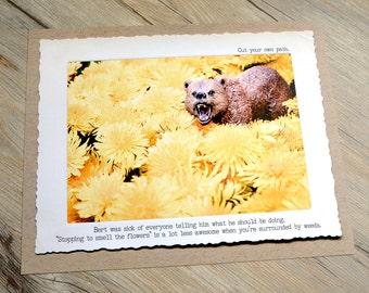 11x14 Bear Dandelions Funny Art Print • Humorous Print • Demotivational Art • Office Decor • Gifts Under 20 • Woodland Animal Print