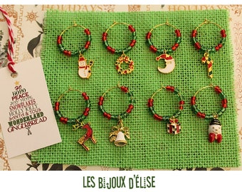 8 pcs Christmas Wine Charm Set of 8 with Gold Tone Rings and Enamel Charms (WC Gold)