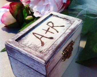 Ring Bearer Box - Shabby Chic Rustic Wedding Decor - Ring Pillow - Personalized Ring Box - Ring Bearer