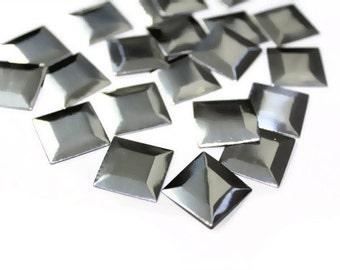 Iron On Silver Metallic Look Pyramids , Metallic Rivet Studs, Hot Fix Silver Studs  100 pcs 15mm