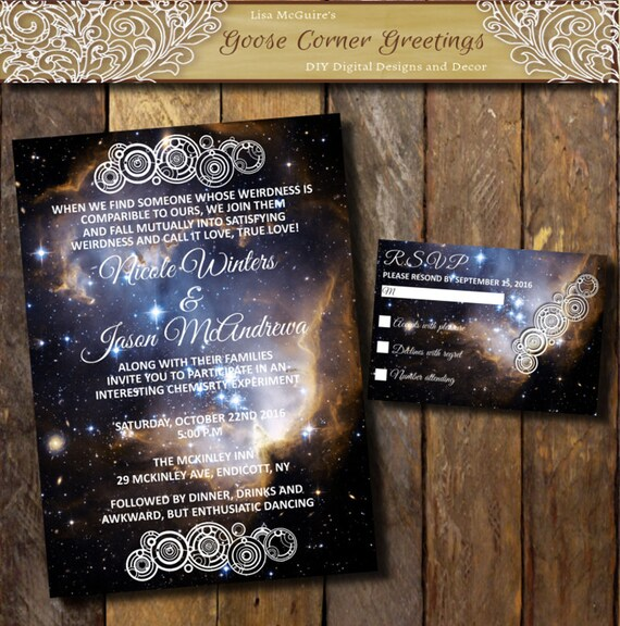 Printable nebula galaxy wedding invitation by for Space themed stationery