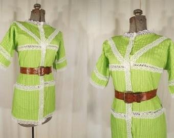 Vintage 1960s Blouse / 60s Peasant Blouse /  Boho Peasant Blouse / Large Lime Green Cotton Hippie Blouse