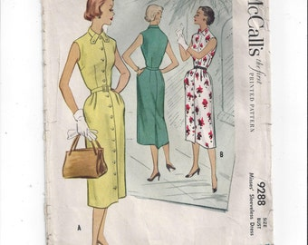 McCall's 9288 Pattern for Misses' Shirt Waist Dress, Size 18, From 1953, Vintage Pattern, Home Sewing Pattern, Mad Men Pattern, Button Dress