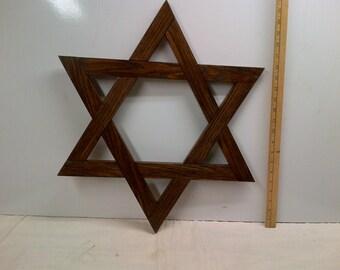 Jewish Star Magen David / Star of David  22 Inch Large Oak , Walnut Finish