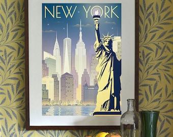 Original Design A3 A2 A1 Art Deco Bauhaus Poster Print New York Statue of Liberty US America Vintage Retro 1920's Cityscape Manhattan