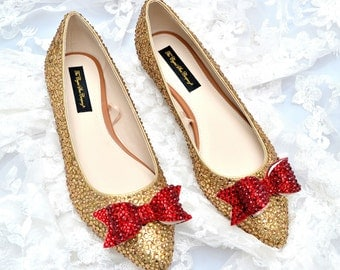 Custom Gold Red Bow Indian pointed swarovski crystal wedding bridal Low Heel Ballerina Flat closed Pump