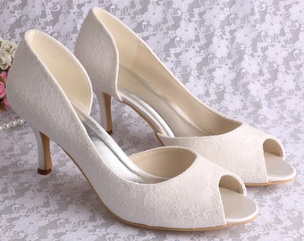 Custom silver Lace Bridal wedding satin Peeptoe dorsay low mid heels - 14 colours!
