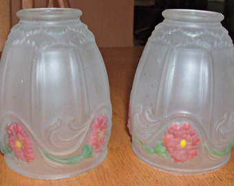 Lot of 2 Vintage Frosted Glass Hand Painted LIght/Glove Shades