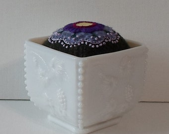 Handmade Pincushion Felted Wool Purple Floral Green Plaid in an Milk Glass Container