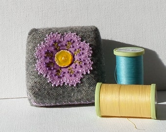 Handmade Pincushion Felted Wool Orchid & Gray Floral Mini Cushion