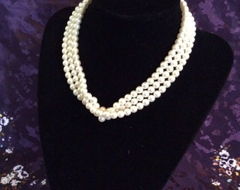 Multi strand pearl beaded necklace 14 in