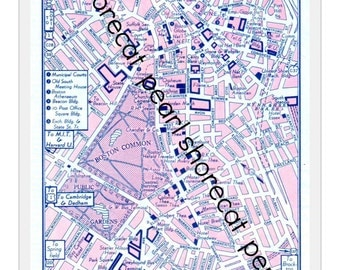 Boston, Massachusetts - City Street Map - Digital Download