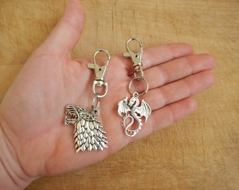 Direwolf Bag Charm - Dragon Purse Charm- One Game of Thrones Keychain