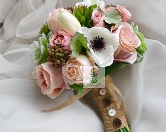 artificial flower wedding bridal bouquet vintage rose sccullent