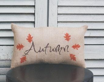 Fall Pillow Autumn Pillow Fall Decor Autumn Leaves Decorative Pillow Home decor  burlap pillow fabric pillow 14x9 accent pillow