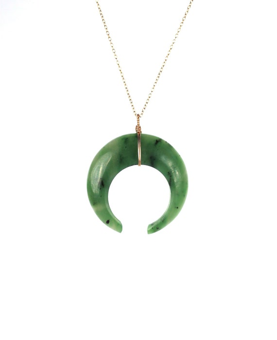 Crescent Horn Necklace: Jade Necklace Double Horn Necklace Crescent Moon Necklace