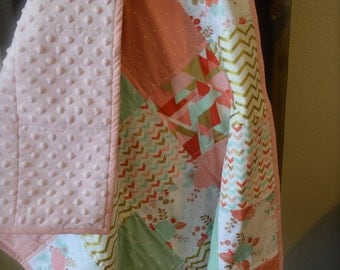 Baby girl quilt / Coral, Mint and Gold Flower Baby Bedding / Crib Quilt