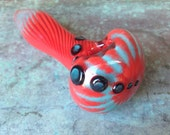 Mermaid series-  double layered turquoise and red glass pipe
