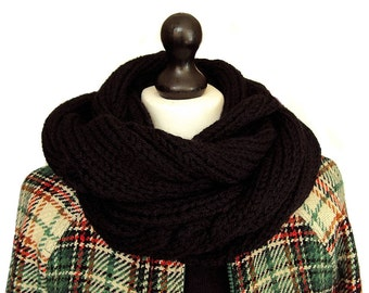 SALE, Infinity Scarf, Black Wool Scarf, Black Knit Scarf, Men's Winter Scarf, Women's Hand Knitted Scarf, Men's Gifts, Clothing, Sue Maun