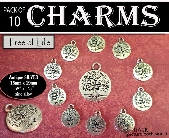 Pack of 10 Tree Of Life Charms - Antiqued Silver - LDS Craft Supplies for jewelry, bracelets, YW or Relief Society Craft Activities, Gifts