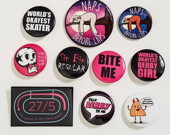 Choice of 5 Roller Derby Pins