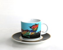 Rosenthal cup and saucer Christmas 1993 collectors Studio Linie Weihnachten porcelain west german lion panther mint gold black
