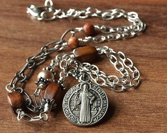 Catholic Religious Jewelry, Catholic Saint Medal, Saint Benedict, Confirmation gift, Catholic jewelry, Godparent gift, Catholic Pendant