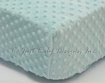 Fitted Crib Sheet - Minky Dot Aqua