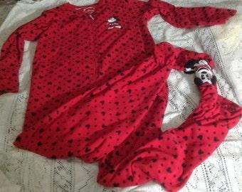 Disney Woman's Red Footie Pajamas Size L/XL ~ Mickey Mouse Pajams, Sleepwear