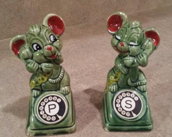 1950s Telephone Mice Salt and Pepper Set