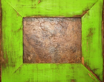 "F002 3-1/2"" Lime Distressed Picture Frame"