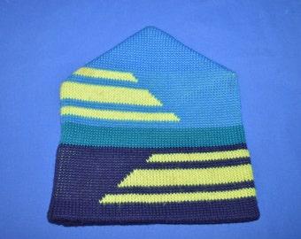 80s Blue Purple Neon Wool Winter Hat