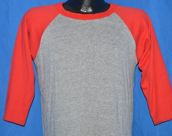 80s Gray Red Vintage 3/4 Sleeve Jersey t-shirt Large